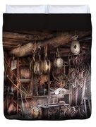 Boat - Block And Tackle Shop  Duvet Cover by Mike Savad