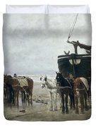Boat on the Beach at Scheveningen Duvet Cover by Anton Mauve