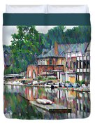 Boathouse Row In Philadelphia Duvet Cover by Bill Cannon