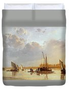 Boats On A River Duvet Cover by Aelbert Cuyp
