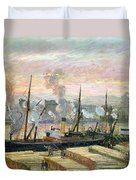 Boats Unloading Wood Duvet Cover by Camille Pissarro