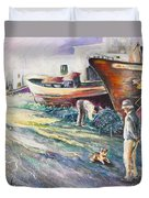 Boats Yard In Villajoyosa Spain Duvet Cover by Miki De Goodaboom