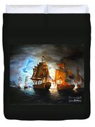 Bonhomme Richard Engaging The Serapis In Battle Duvet Cover by Paul Walsh