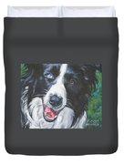 Border Collie Duvet Cover by Lee Ann Shepard