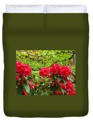 Botanical Garden Art Prints Red Rhodies Trees Baslee Troutman Duvet Cover by Baslee Troutman
