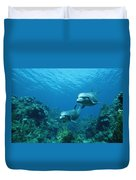 Bottlenose Dolphins And Coral Reef Duvet Cover by Konrad Wothe