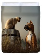 Boxer And Siamese Duvet Cover by Daniel Eskridge