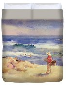 Boy On The Sand Duvet Cover by Joaquin Sorolla