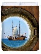 Brass Porthole Duvet Cover by Carlos Caetano