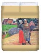 Breton Peasants Duvet Cover by Paul Gauguin