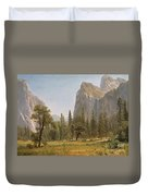 Bridal Veil Falls Yosemite Valley California Duvet Cover by Albert Bierstadt