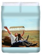 Bucky Gets The Bull Duvet Cover by Tom Roderick