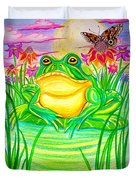 Bull Frog And The Moon Duvet Cover by Nick Gustafson