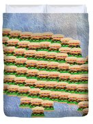 Burger Town Usa Map Duvet Cover by Andee Design