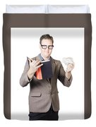 Businessman With Book And Crumpled Paper Duvet Cover by Ryan Jorgensen