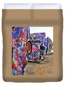 Cadillac Ranch Duvet Cover by Angela Wright