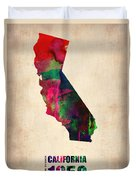 California Watercolor Map Duvet Cover by Naxart Studio