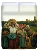 Calling in the Gleaners Duvet Cover by Jules Breton