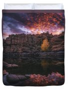 Candle Lit Lake Duvet Cover by Peter Coskun