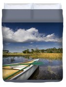 Canoeing In The Everglades Duvet Cover by Debra and Dave Vanderlaan