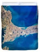 Cape Cod And Islands Spring 1997 View From Satellite Duvet Cover by Matt Suess