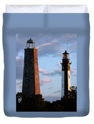 Cape Henry Lighthouses In Virginia Duvet Cover by Skip Willits