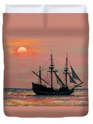 Caribbean Pirate Ship Duvet Cover by Susan DeLain