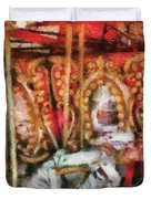 Carnival - The Carousel - Painted Duvet Cover by Mike Savad