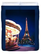 Carousel And Eiffel Tower Duvet Cover by Elena Elisseeva