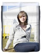 Casual Country Girl Duvet Cover by Jorgo Photography - Wall Art Gallery