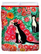 Cats and Roses Duvet Cover by Sushila Burgess