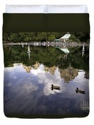 Central Park Pond With Two Ducks Duvet Cover by Madeline Ellis