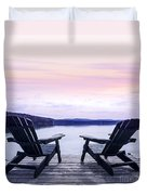 Chairs On Lake Dock Duvet Cover by Elena Elisseeva