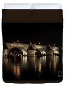 Charles Bridge At Night Duvet Cover by Michal Boubin