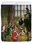 Charles I in the House of Commons Duvet Cover by English School