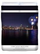 Chicago Lakefront Skyline Poster Duvet Cover by Steve Gadomski