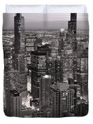 Chicago Loop Sundown B And W Duvet Cover by Steve Gadomski