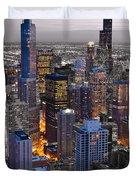 Chicago Loop Sundown Bw Color Blend Duvet Cover by Steve Gadomski