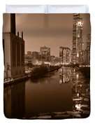 Chicago River B And W Duvet Cover by Steve Gadomski