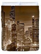 Chicago River City View B And W Duvet Cover by Steve gadomski