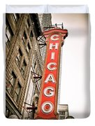Chicago Theater Sign Marquee Duvet Cover by Paul Velgos