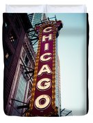 Chicago Theatre Marquee Sign Vintage Duvet Cover by Paul Velgos