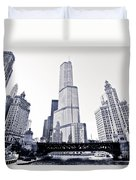 Chicago Trump Tower And Wrigley Building Duvet Cover by Paul Velgos