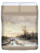 Children Playing In A Winter Landscape Duvet Cover by August Fink