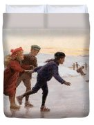 Children Skating Duvet Cover by Percy Tarrant