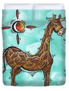 Childrens Nursery Art Original Giraffe Painting Playful By Madart Duvet Cover by Megan Duncanson