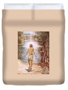 Christ Baptised By John The Baptist Duvet Cover by William Brassey Hole