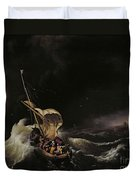 Christ In The Storm On The Sea Of Galilee Duvet Cover by Ludolph Backhuysen
