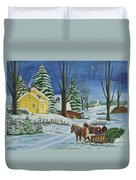 Christmas Eve In The Country Duvet Cover by Charlotte Blanchard