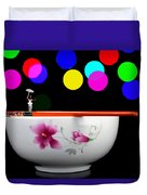 Circus Balance Game On Chopsticks Duvet Cover by Paul Ge